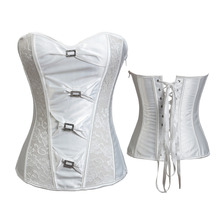 Satin White / Zipper / Side Lace Up / Boned Rhinestone Corset