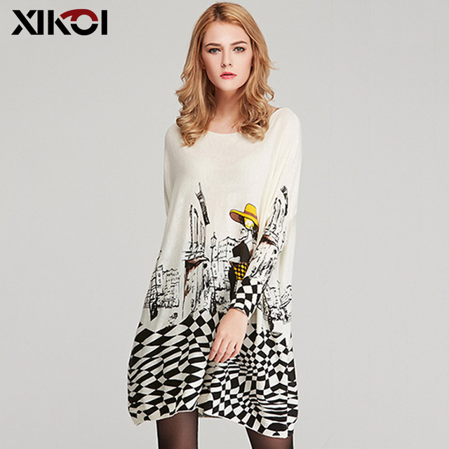 XIKOI Free Size Autumn Women Long Sweaters Slash Neck Batwing Sleeve New Printed Pullovers Female Loose Casual Knitted Sweaters