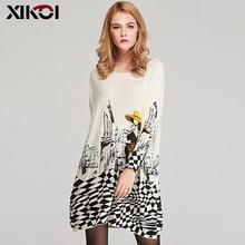 XIKOIฟรีขนาดฤดูใบไม้ร่วงผู้หญิงเสื้อกันหนาวยาวSlashคอBatwing Sleeveพิมพ์เสื้อกันหนาวหญิงหลวมสบายๆถักเสื้อกันหนาว