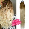 IN STOCK 7A Ombre Tape Hair Extensions 20pcs/set T10/60# Tape In Remy Human Hair Skin Weft Brazilian Hair Extension BY62