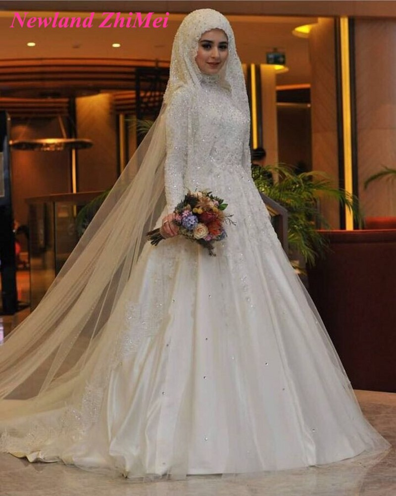 High Quality A Line Bride Dress 2017 New Design High Neck Long Sleeves Beading Appliques Satin