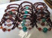 Wholesale prices 100% Natural Natural Garnet Aquamarine Strawberry Quartz Crystal Beads Bracelet