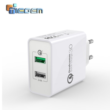 TIEGEM Dual USB Quick Charger 3.0 + 2.4A 30W QC 3.0 Fast Charging Adapter EU US Plug Universal Mobile Phone Charger for Phone