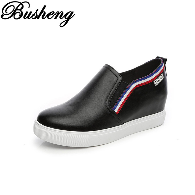 Primavera Otoño Nuevo 2017 de Las Mujeres Zapatos Casuales Las Mujeres Zapatos de Tacón Alto Ocasional Aumento de la Altura Los Zapatos Se Deslizan En Las Mujeres Botas