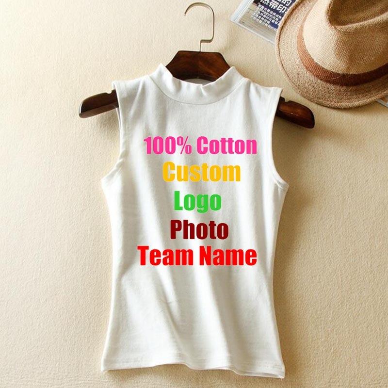 Hohe Qualität Elastischer Feststoff Baumwolle Frauen Stehen Kragen Ärmel Tanks Top Schlank Custom Logo Foto Text Pullis shirt Westen