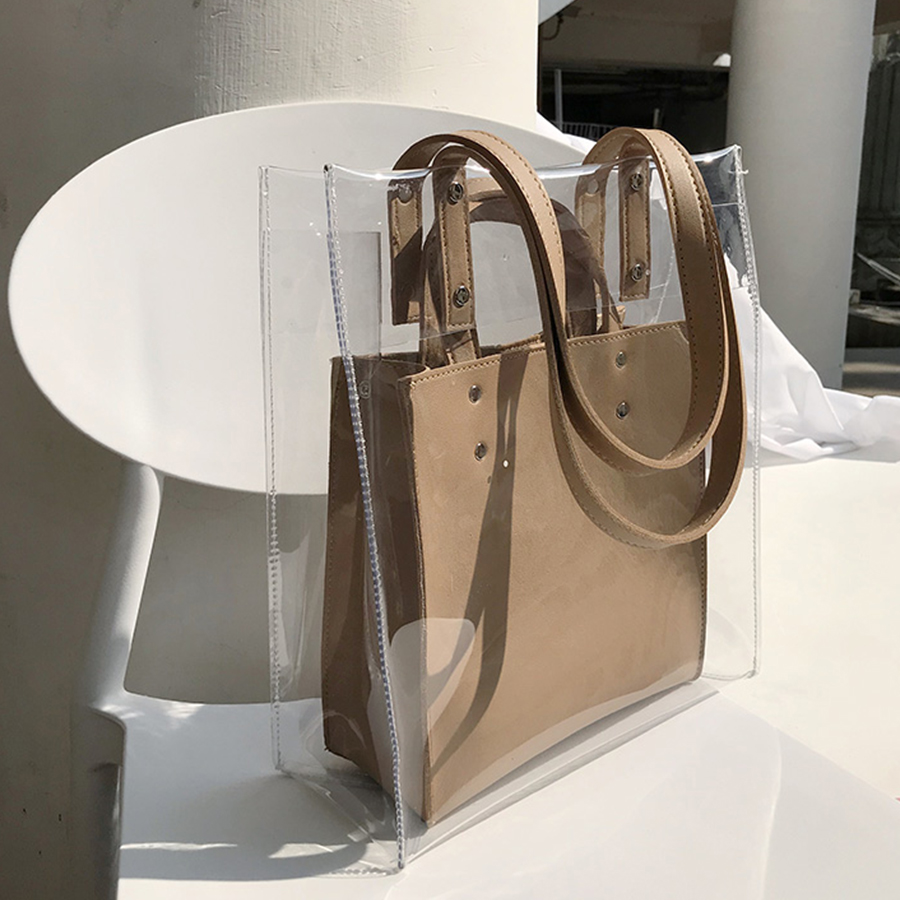 Transparent Pvc Large Capacity Composite Women's Handbags Clear Jelly Waterproof Beach Bags Lady Solid Color  Clutch Bag Tote