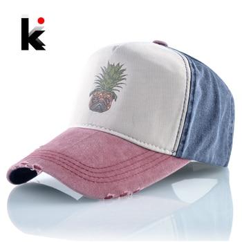 Breathable Baseball Cap Spring Cotton Dad Hats Men Summer Casual Hat For Women Fashion Pineapple Dog Snapback Hip Hop Bones 1