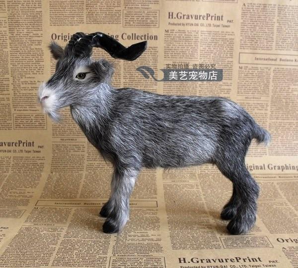 simulation goat model,polyethylene& fur 22x13x19cm gray sheep handicraft toy prop,home decoration Xmas gift b3769