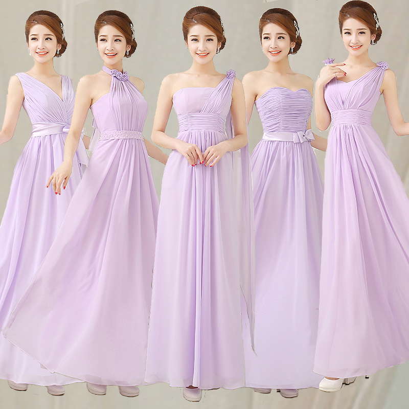Light Purple Champagne Long Chiffon Women Bridesmaid Dresses Under 50 Bridal Party Formal Prom Gown Banquet Dress In Stock From