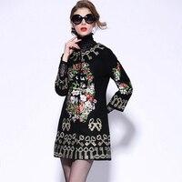 Coat Women 2018 Autumn Winter Three Quarter Sleeve Keys Flowers Embroidery Black Red Woolen Overcoat England Style L