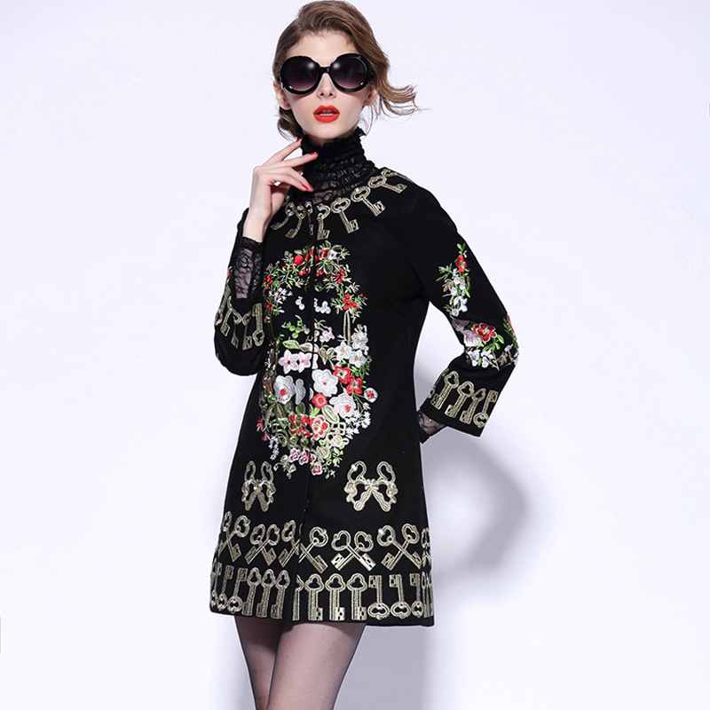 Flowers Embroidery Women Coat 2019 Autumn Winter Three Quarter Sleeve Keys  Black Red Woolen Overcoat England Style Elegant