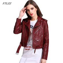 Ftlzz nueva otoño mujeres motocicleta Pu chaqueta de cuero mujer Turn-down  Collar negro corto · 5 colores disponibles 4989e5bfe52