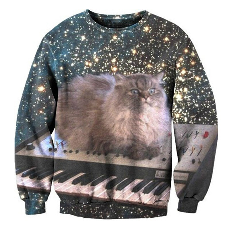 2017 NEW Hot Fashion men women cool 3D print Cat Electronic organ sweatshirt enchantress pullover hoodies wholesale dropship