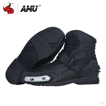 AMU Motorcycle Boots Leather Motocross Boots Men Moto Riding Boots Shoes Motorcycle Protection Breathable Moto Boots Black