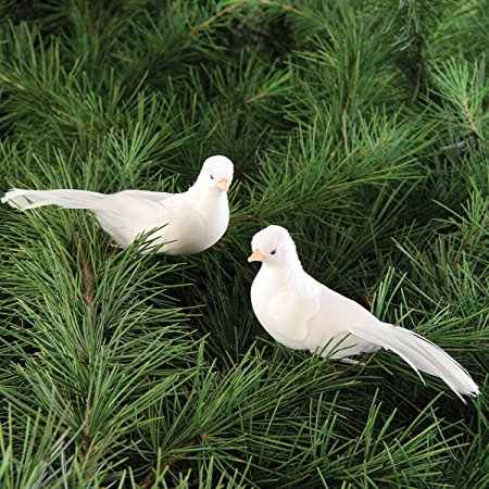 1PCS 12*5*5CM Decorative Doves Artificial Foam Feather Mini White Birds With Magnet Craft Birds Home Decor Wedding Decorations