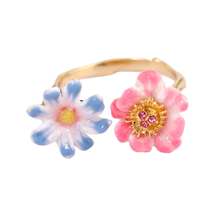 Monet Garden Series Light Blue Pink Sunny Flower Enamel Ring 2018 Women Fashion Charm Vintage Jewelry Anelli Donna Anel Anillos chain