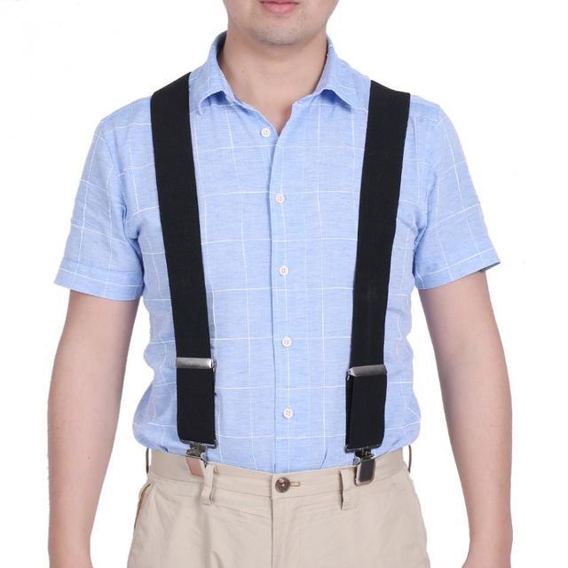 c9a63a7aa 50mm ancho mujeres hombres elástico Suspender hombres x-shape pantalones  Tirantes ajustables 4 Clips cinturones