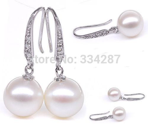 Natural Nice White AAA+ Round 9-10MM pearl Dangle earrings 925 sterling silverNatural Nice White AAA+ Round 9-10MM pearl Dangle earrings 925 sterling silver