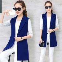 Fashion 2018 Women Autumn Slim Vest Coats Fashion Elegant Female Turn Down Collar Sleeveless Suit Vest