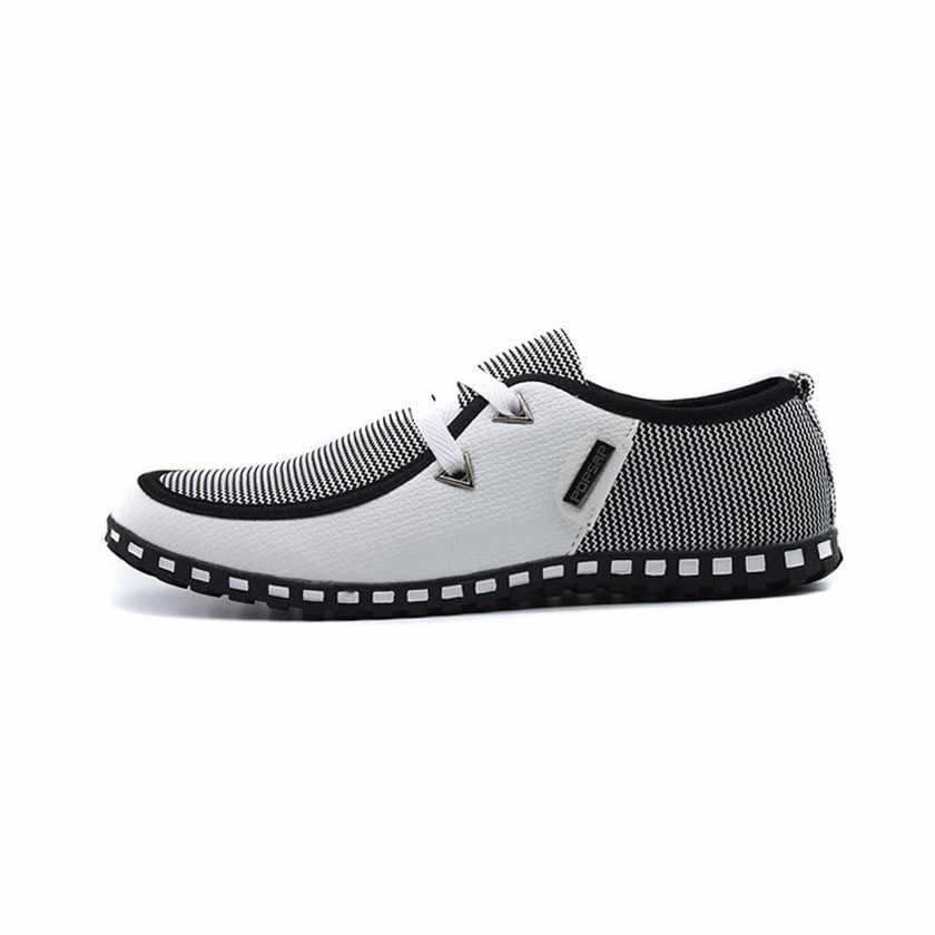 2018 мужская повседневная обувь дышащая легкая обувь на плоской подошве кожаные туфли-Лоферы без застежки мужские туфли на плоской подошве для вождения Большие размеры 39-46