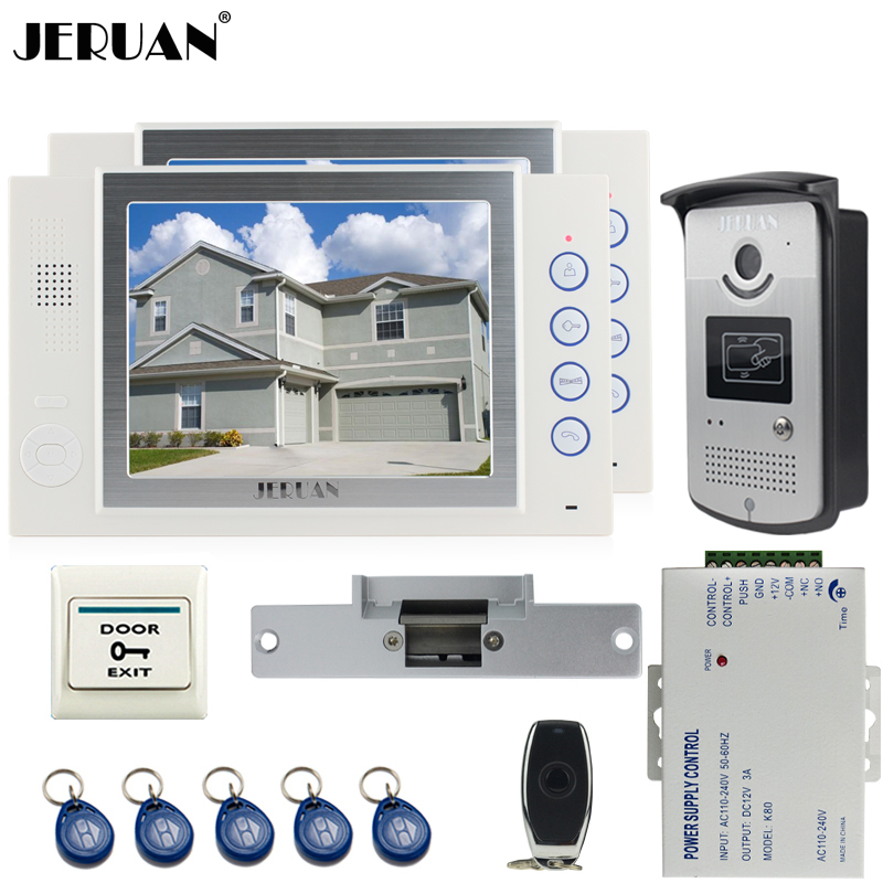 JERUAN 8`` TFT video door phone Record intercom system kit 2 house 700TVL RFID Access IR Night Vision Camera Cathode lock 8GB SD jeruan 8 inch tft video door phone record intercom system new rfid waterproof touch key password keypad camera 8g sd card e lock