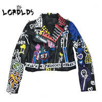 LORDLDS 2019 Leather Jacket Women Graffiti Colorful Print Biker Jackets and Coats PUNK Streetwear Ladies clothes