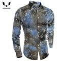 Camisa para hombre 2016 Camisas de Moda Estampado de Flores de Manga Larga Camisetas Nueva Marca Los Hombres Adelgazan la Camisa Masculina XXL RCNSKLD