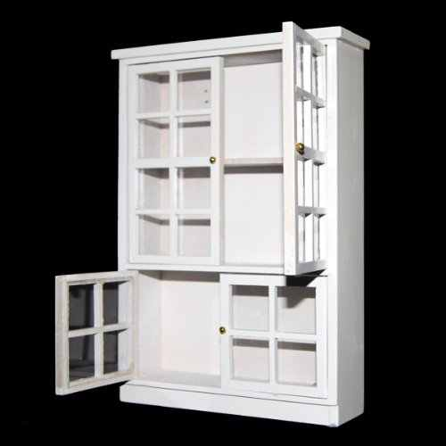 1/12 Dollhouse Miniature Furniture Kitchen Dining Cabinet Display Shelf White