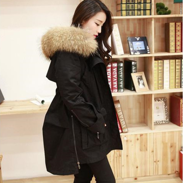 Long Thicken Warm Dovetail Slim Winter Black and Green Womens ...