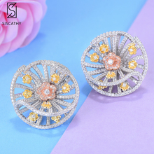 SISCATHY Trendy Women Earrings Jewelry Flower Shape Stud Full Cubic Zirconia Inlaid Dubai Indian