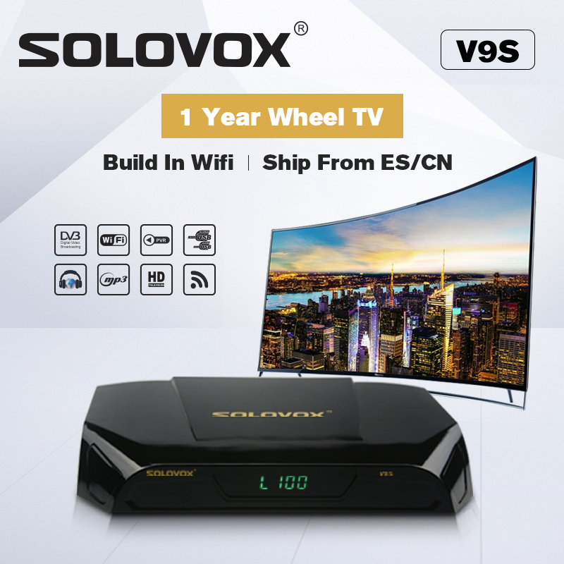 SOLOVOX V9S Support HDMI and AV Satellite Receiver Home Cinema Smart TV Box Build in WIFI Support WHEEL CCCAMD LIVE solovox v6s satellite receiver home cinema hdmi av smart tv box free cccamd live free hot xxx channel stalker xtream