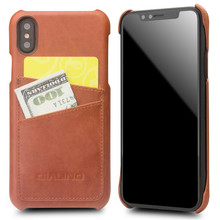 QIALINO Luxury Handmade Phone Cover for iPhone X Fashion Genuine Leather Card Slot Ultrathin Back Case for iPhone X for 5.8 inch ultrathin protective frosted pc back case w sim card slot open for iphone 4 4s translucent black