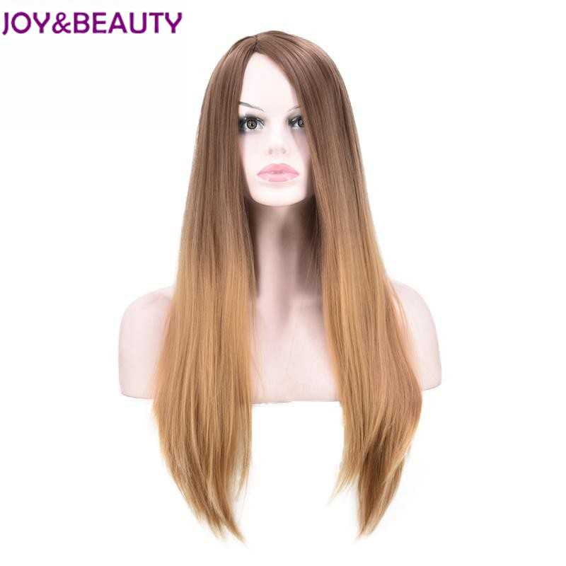 """JOY&BEAUTY 24"""" Long Straight Synthetic Hair Wig Brown Ombre Light brown Red Blue Gray 6 colors available High Temperature W"""