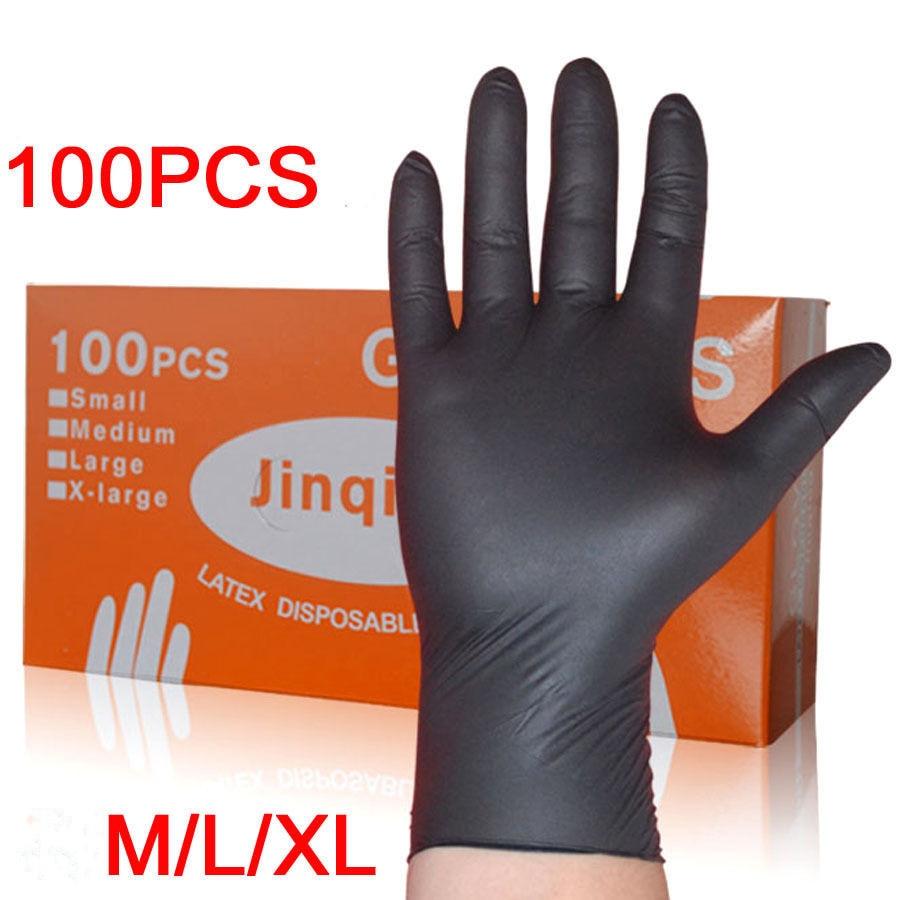 LESHP 100PCS/SET Household Cleaning Washing Disposable Mechanic Gloves Black Nitrile Laboratory Nail Art Anti-Static Gloves