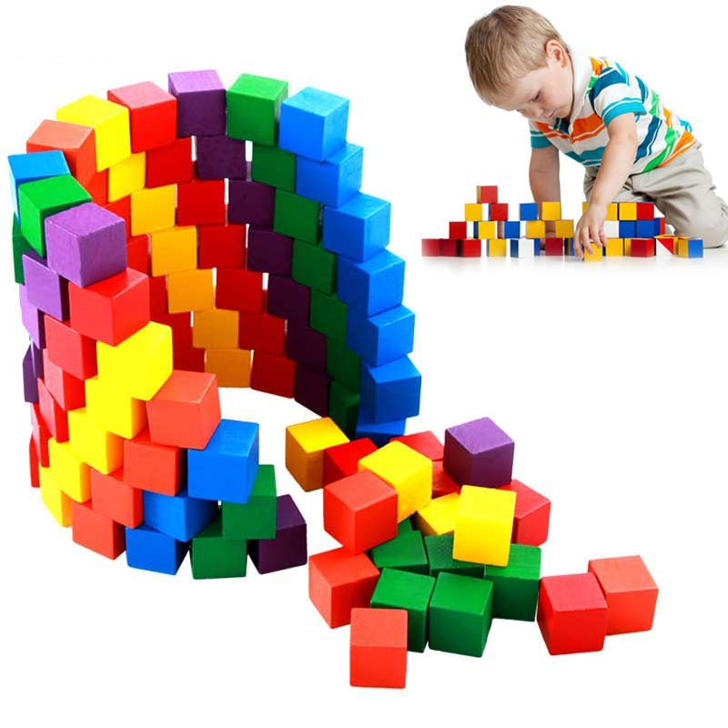 100 Pcs/Set Infant Building Blocks Cube Wooden Squeeze Stack Block Baby Kids Educational Toys Children Gifts BM88 baby educational wooden toys for children building blocks wood 3 4 5 6 years kids montessori twenty six english letters animal