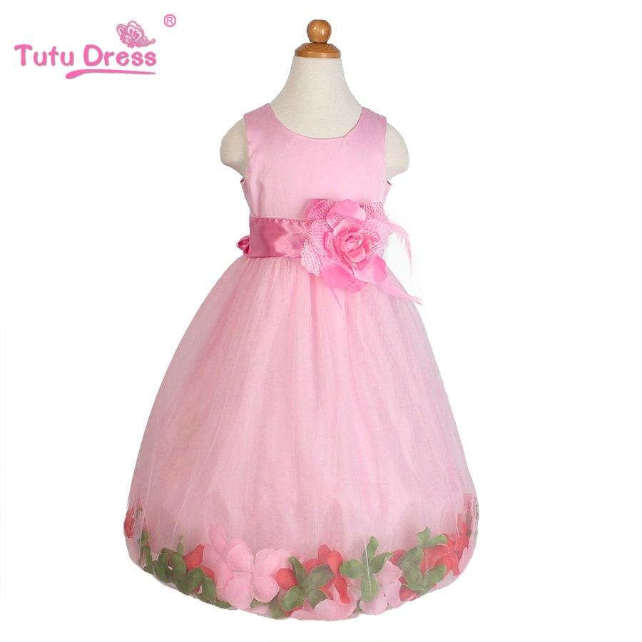 Flower Girl Dresses WHITE with Rose Petal Dress Wedding Easter ...