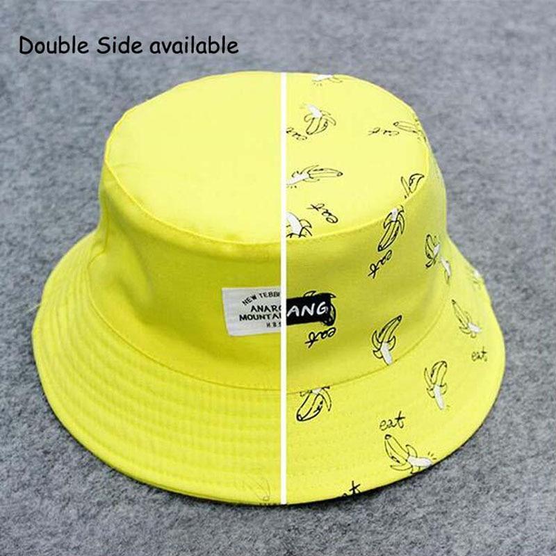 Panamá dos lados Reversible unisex moda cubo sombrero Bob gorras Hip Hop  Gorro hombres verano gorra niños tristeza Playa Sol plátano cubo sombrero  en ... 643058257d9