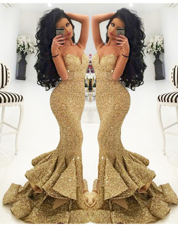 High Quality Gold Sequin Prom Dress Promotion-Shop for High ...
