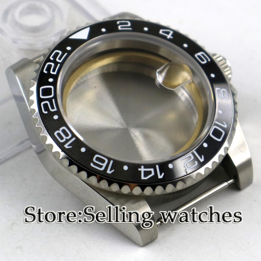 цена 40mm parnis Sapphire Glass Date Rotaating Ceramic Bezel Steel Watch Case fit 2824 2836 movement онлайн в 2017 году