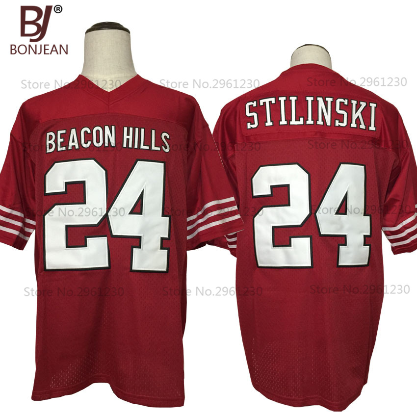 BONJEAN Mens Cheap Stilinski #24 TEEN WOLF TV Series Jersey Beacon Hills Lacrosse American Football Jersey Maroon Stitched Shirt