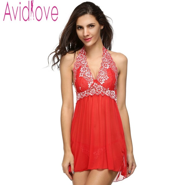 d1ca89226dd Avidlove Women Sexy Nightgown Nightdress Plus Size V-Neck Lingerie Set Lady  Lace Patchwork Off Shoulder + G-String Nightwear