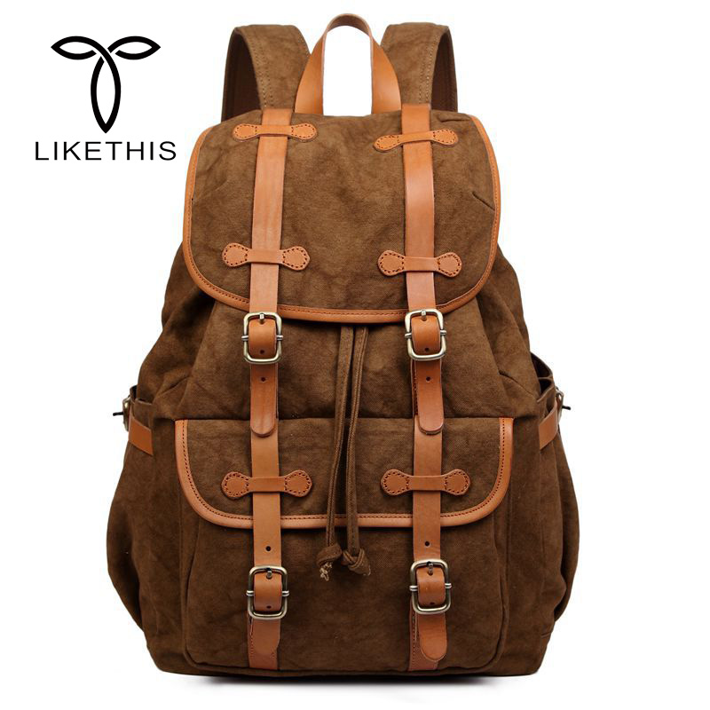 New Fashion School Bags For Teenagers Men Vintage Women Bag Tree Skin Cream Leather With Canvas Backpack Drawstring Bag a8100ap 1wg arte lamp