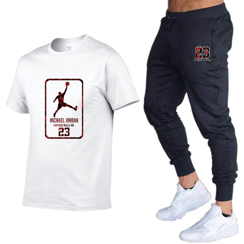 2019 New Brand Clothing Jordan 23 Men T-shirt Cotton 3D Print Homme Fitness Swag T-Shirt Hip Hop Tees+Sweat Pants Jogging