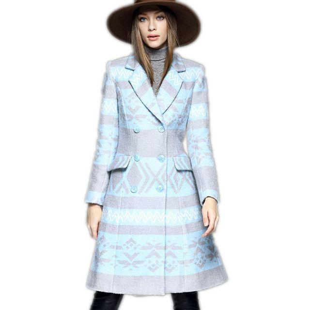 Moda Delgado Largo Abrigo de lana de Invierno Mujeres Doble de Pecho Abrigo de Lana de Las Mujeres Chaqueta de Invierno 2017 Nuevo Estilo de Chaquetas Femeninas F299
