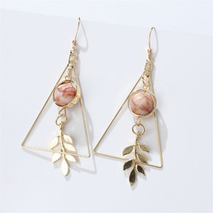 European and American Fashion Vintage Hollow Out Triangle Marble Round Beads Leaf Earrings For Woman Girls Jewelry(China)
