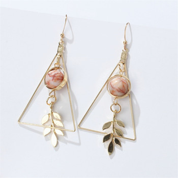 European and American Fashion Vintage Hollow Out Triangle Marble Round Beads Leaf Earrings For Woman Girls Jewelry