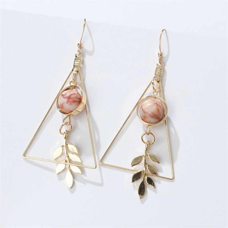Europeu e americano moda vintage oco para fora triângulo de mármore contas redondas folha brincos para mulher meninas jóias