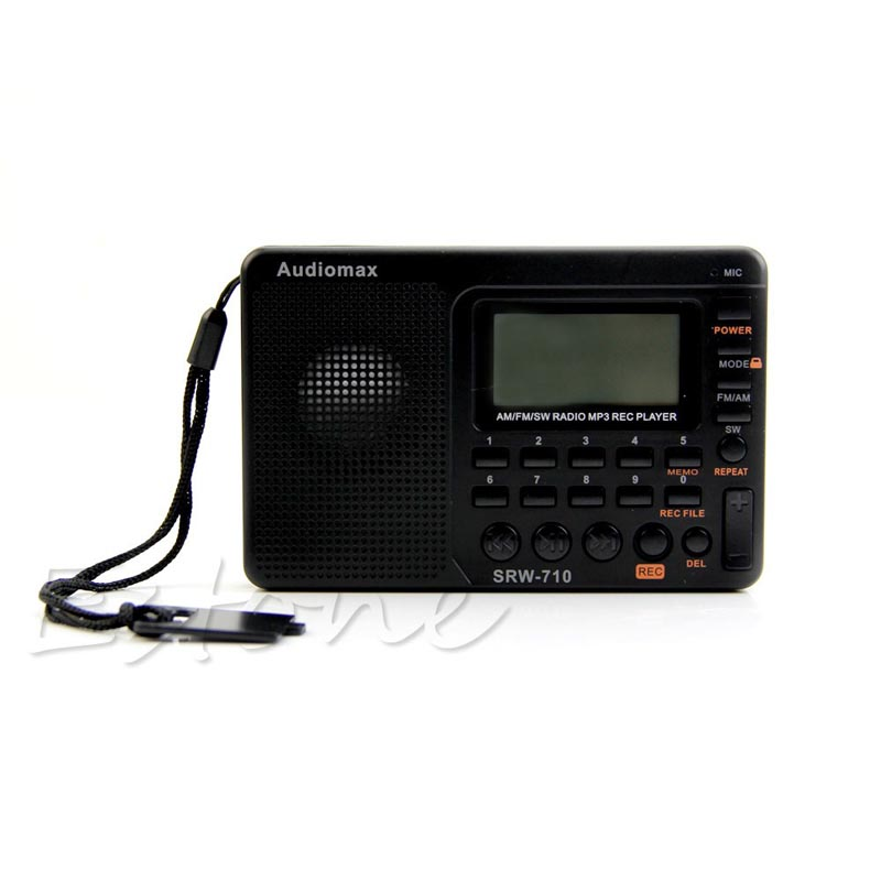 Radio Portable Digital Tuning LCD Receiver TF MP3 REC Player FM AM SW Full Band Radio full band portable radio degen de29 fm am digital tuning clock beautiful sound rechargeable mp3 player radio dot matrix screen