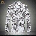 Большой Размер Цветочные Хлопок Национальный Стиль Camisa Masculina 5XL 4XL Brand Clothing Slim Fit Мужчины Печати Рубашка Гавайская Рубашка 2017 новый