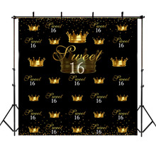 NeoBack Crown 16th Birthday Party Background Photography Sweet Girl Repeat Gold Dots Black Backdrops